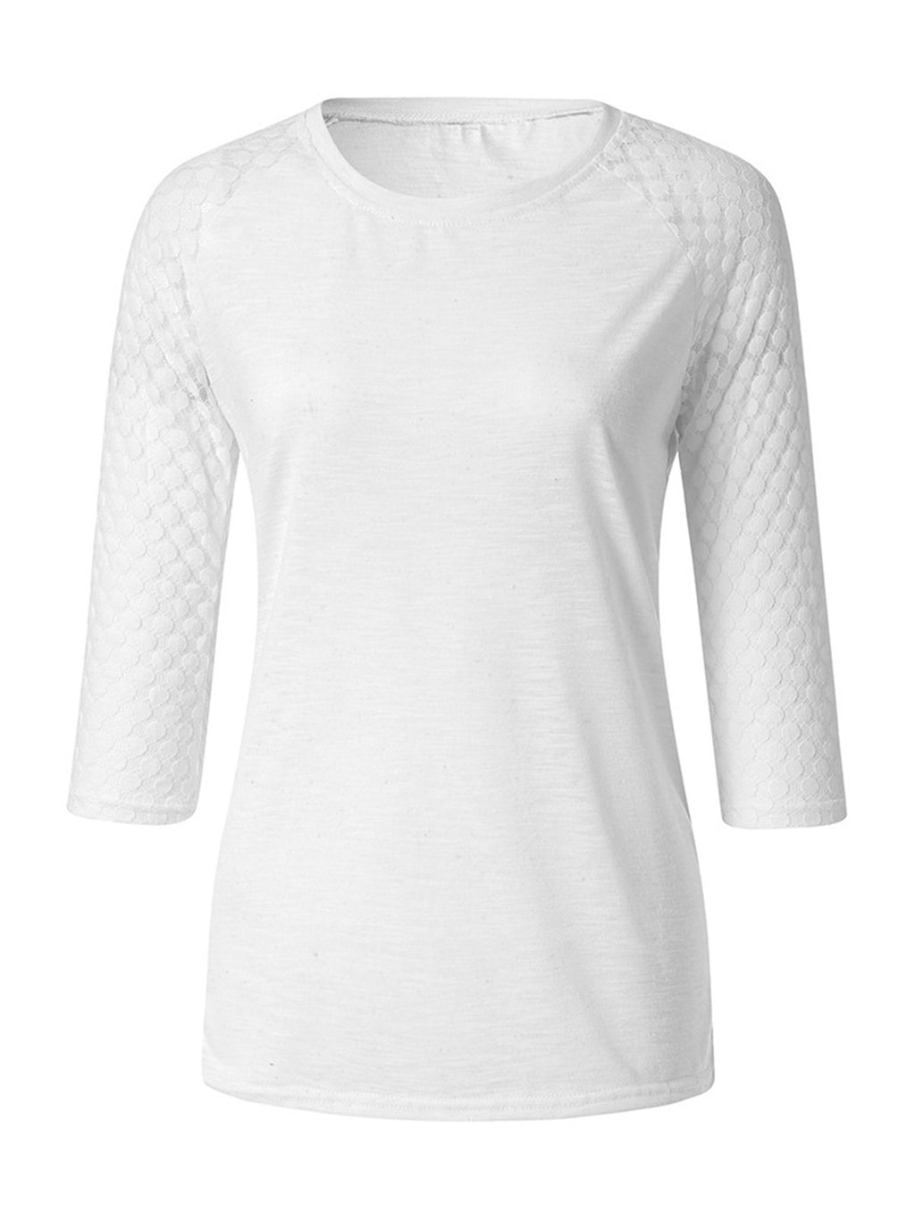 Solid Round Neck 3/4 Sleeve Plus Size Straight T-shirt