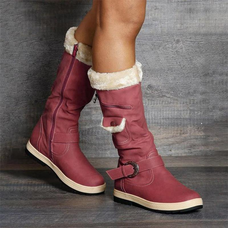 Daily Side Zipper Buckle Boots
