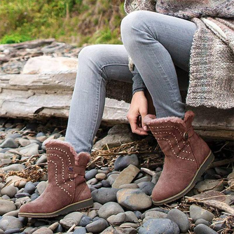Solid Women's Comfy Flat Ankle Boots