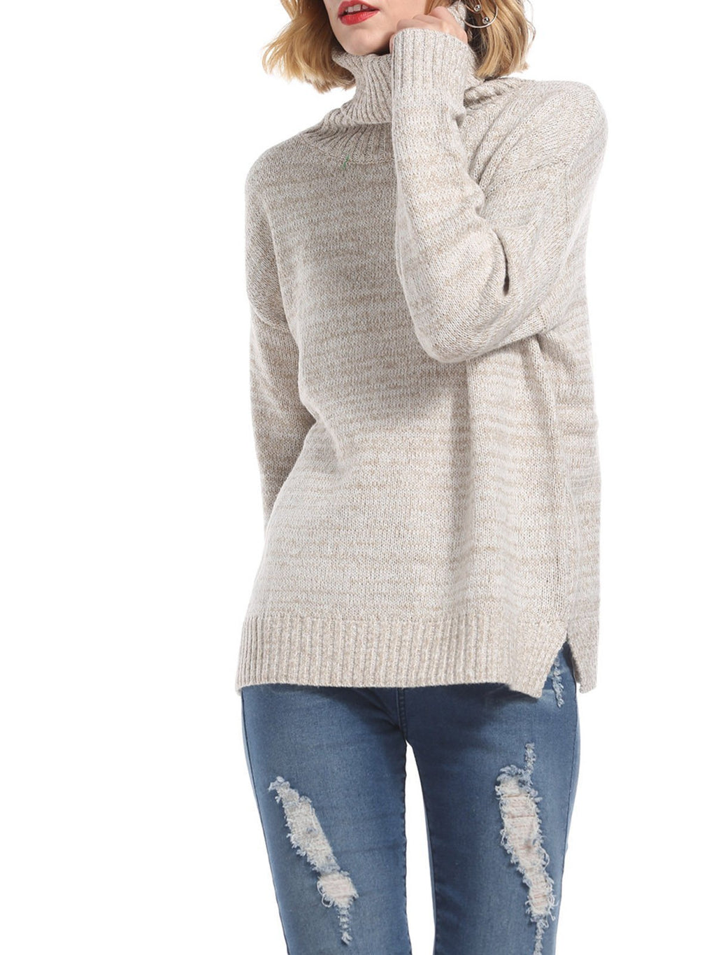 Knitted High Collar Solid Color Long Sleeve Bottoming Sweater