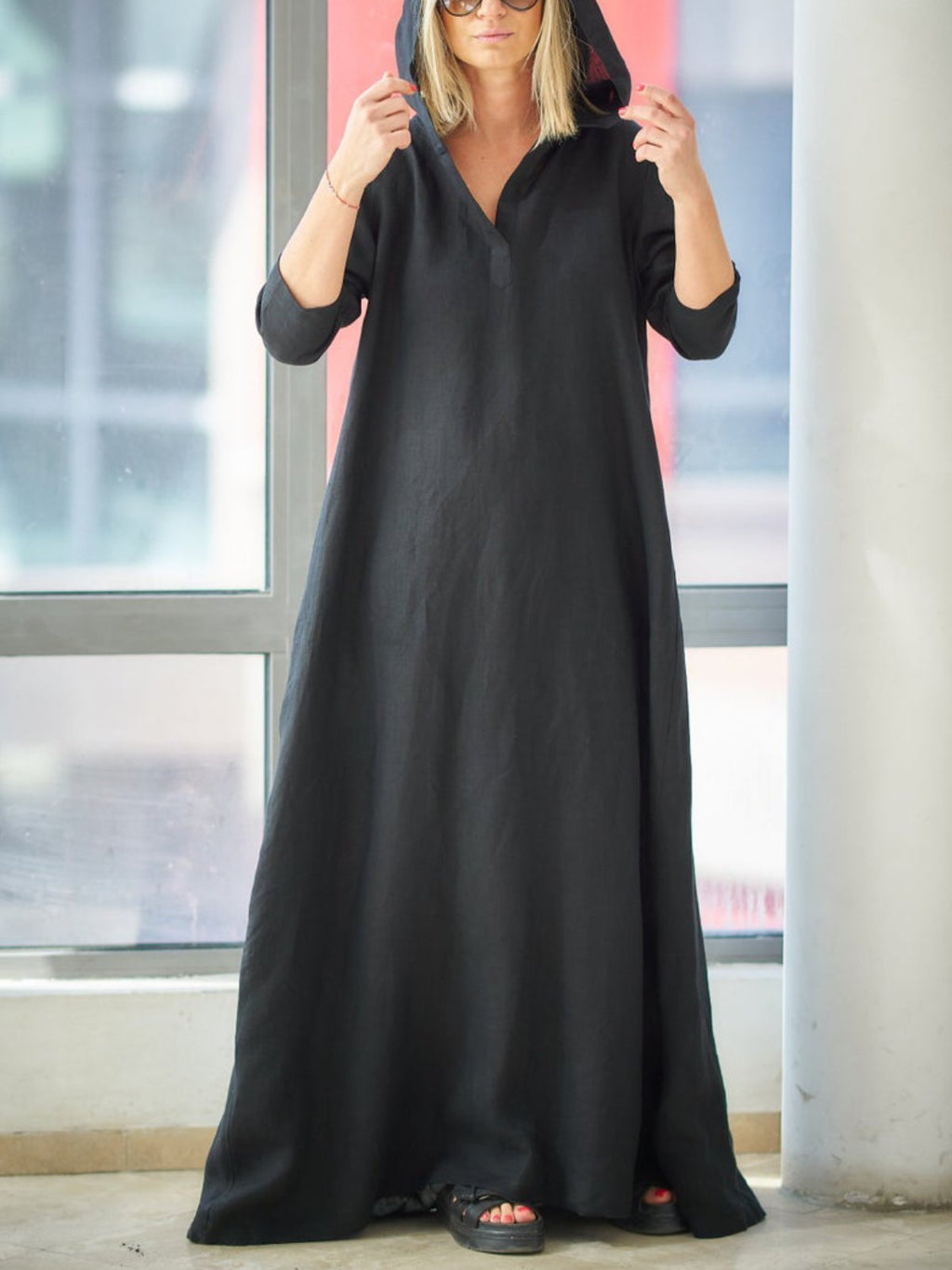 Black Long Sleeve Cotton-Blend Solid Hoodie Dresses