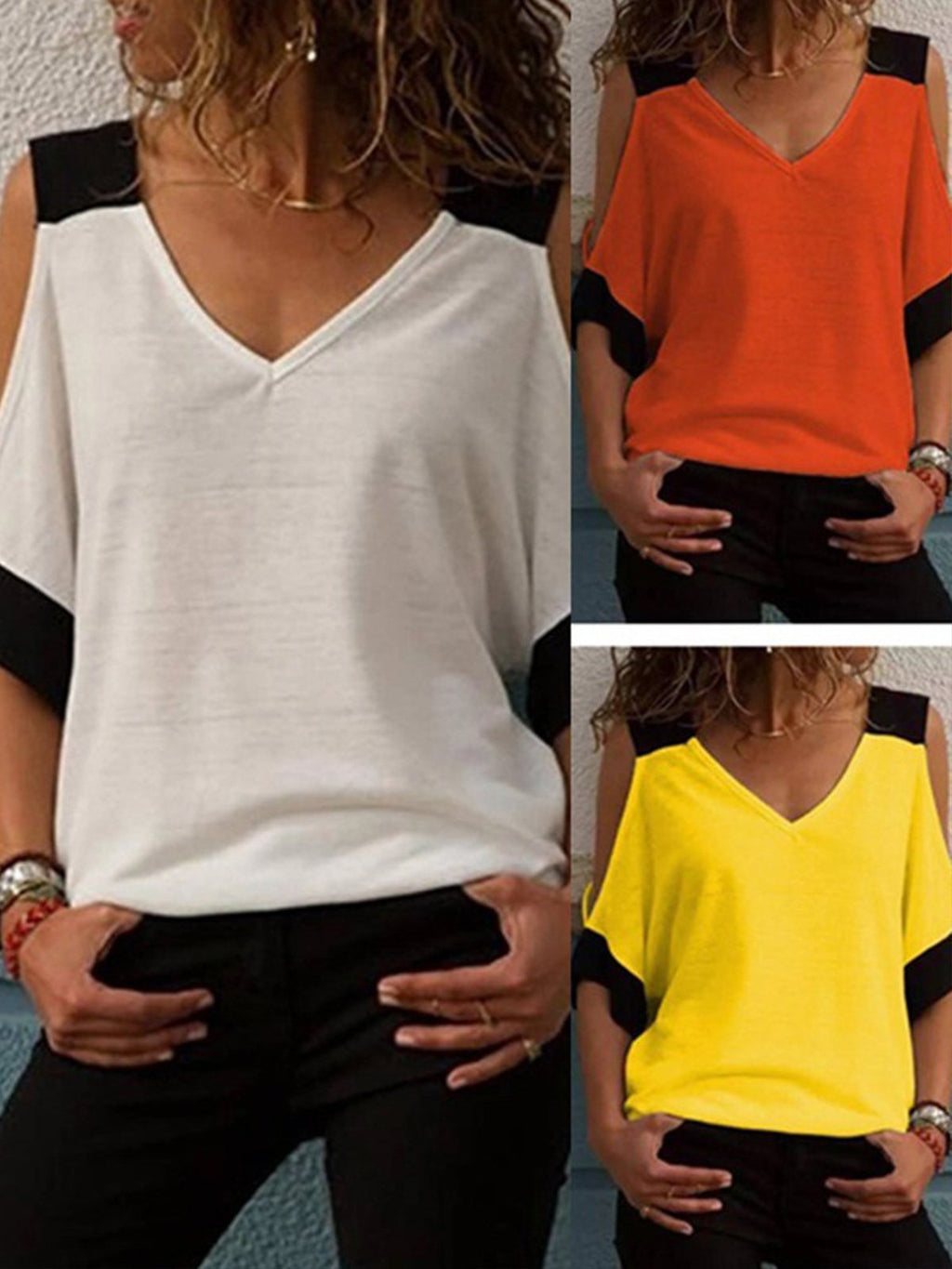 Summer Women Cold Shoulder V Neck Color Block Shirt Sleeve Tee Top