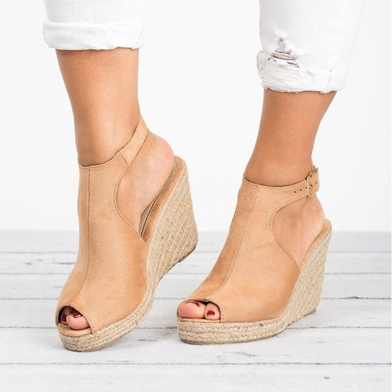 Peep Toe Suede Blocking Hook-Loop Wedge Sandals