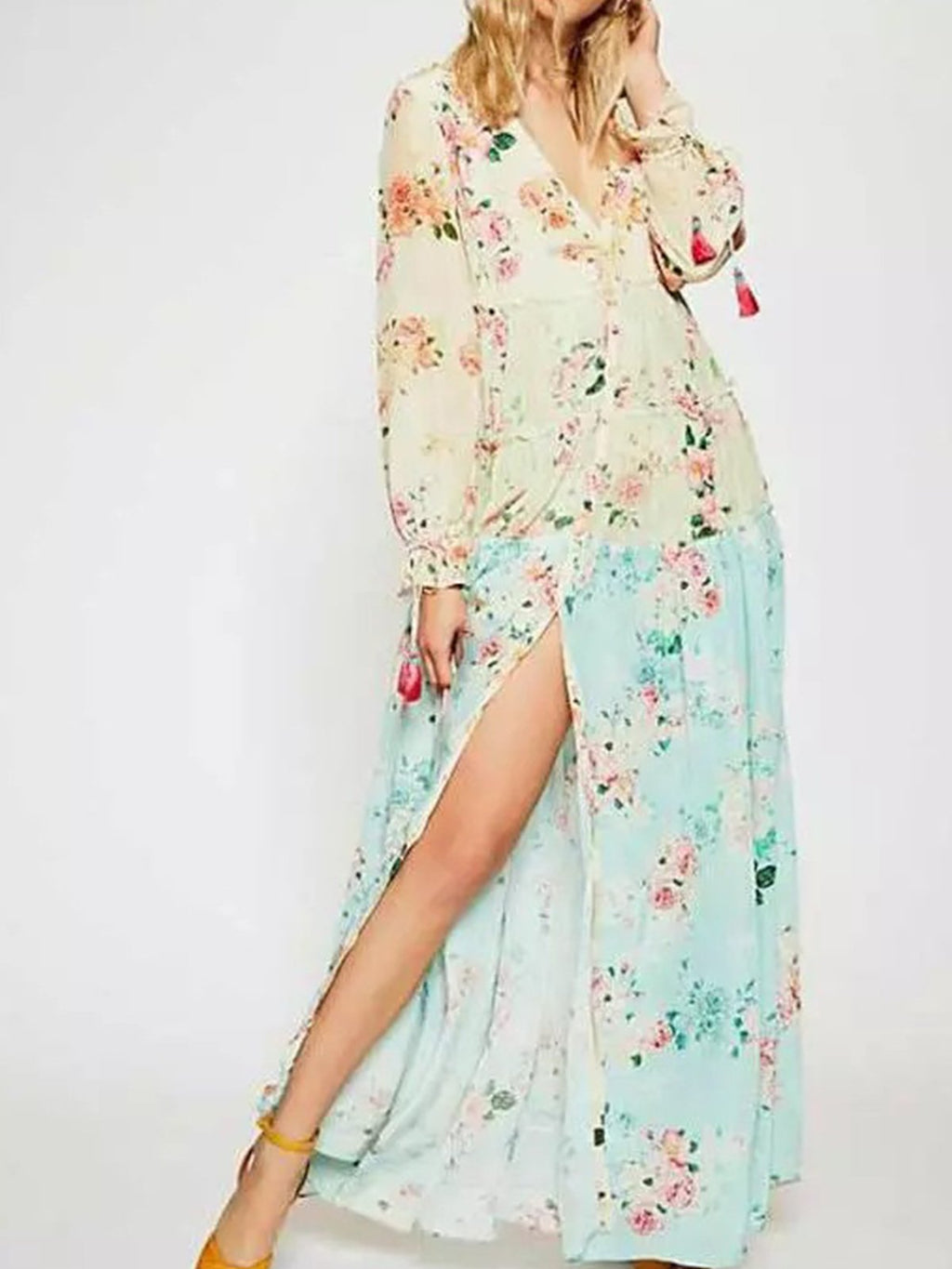 Floral Print V Neck Long Sleeve Bohemian Slit Maxi Dress