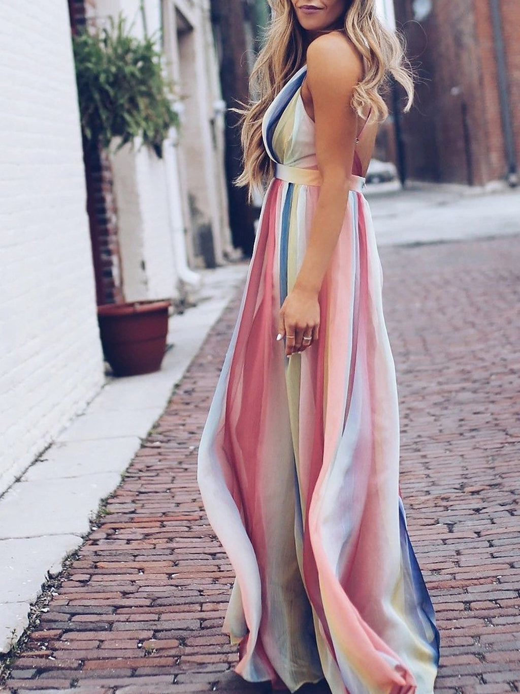 Floral Print Sleeveless Backless Bohemian Sexy Maxi Dress