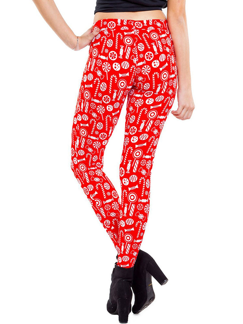 Xmas Theme Candy Print Casual Red Pants