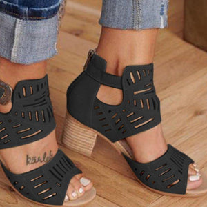 WOMEN ARTIFICIAL LEATHER CHUNKY HEEL ADJUSTABLE BUCKLE SANDALS CASUAL SHOES