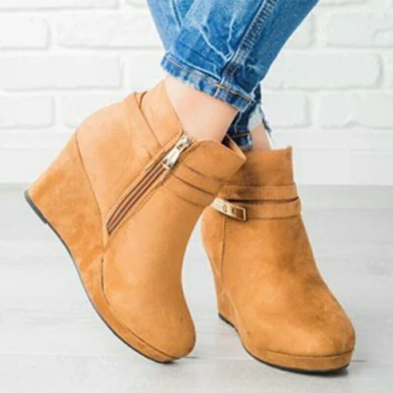Metal Strap Buckle Wedge Heel Ankle Boots