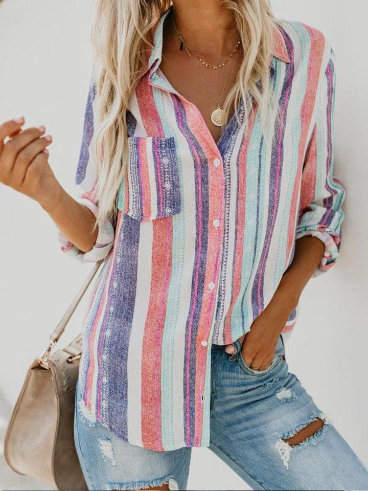 Casual Colorful Rainbow Striped Blouse