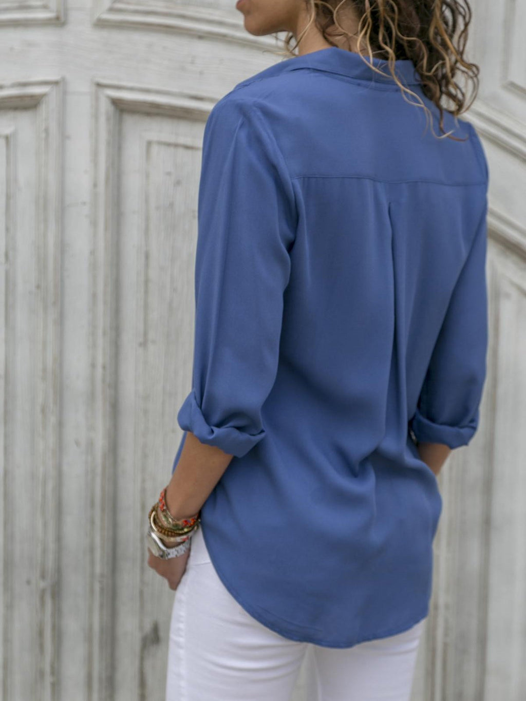 Solid Lapel Collar Long Sleeve Midi Shirt