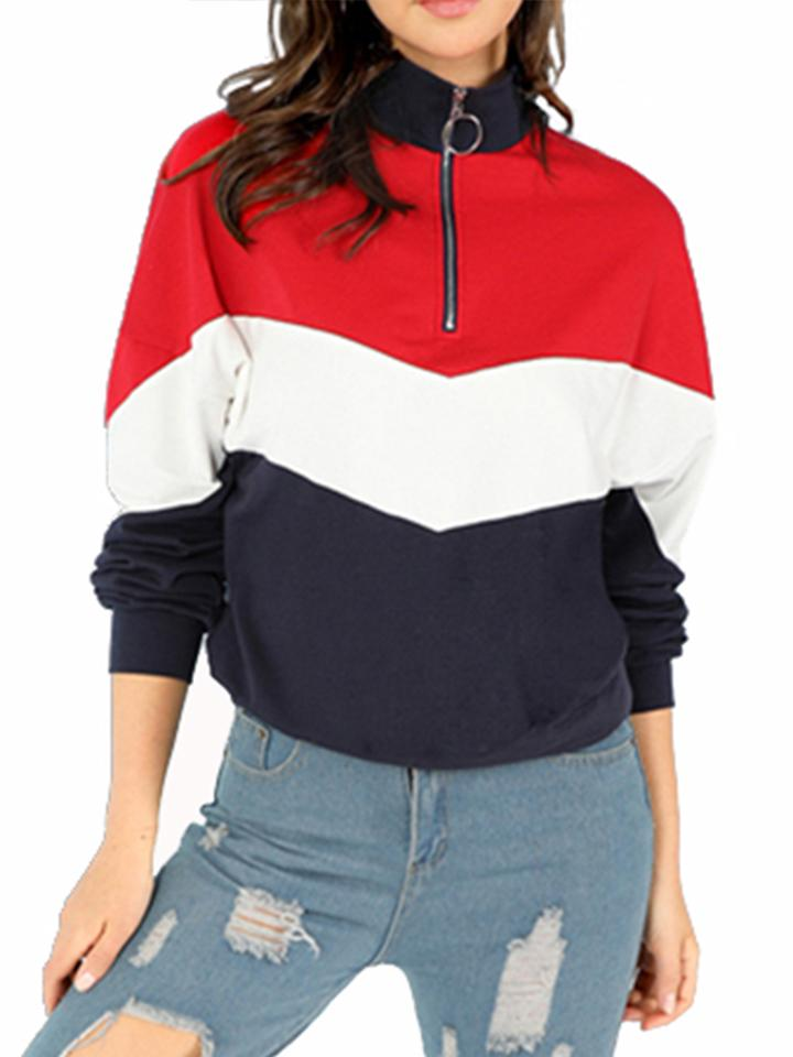 Casual Lapel Colorblock Zipped Sweatshirt - CandyShe
