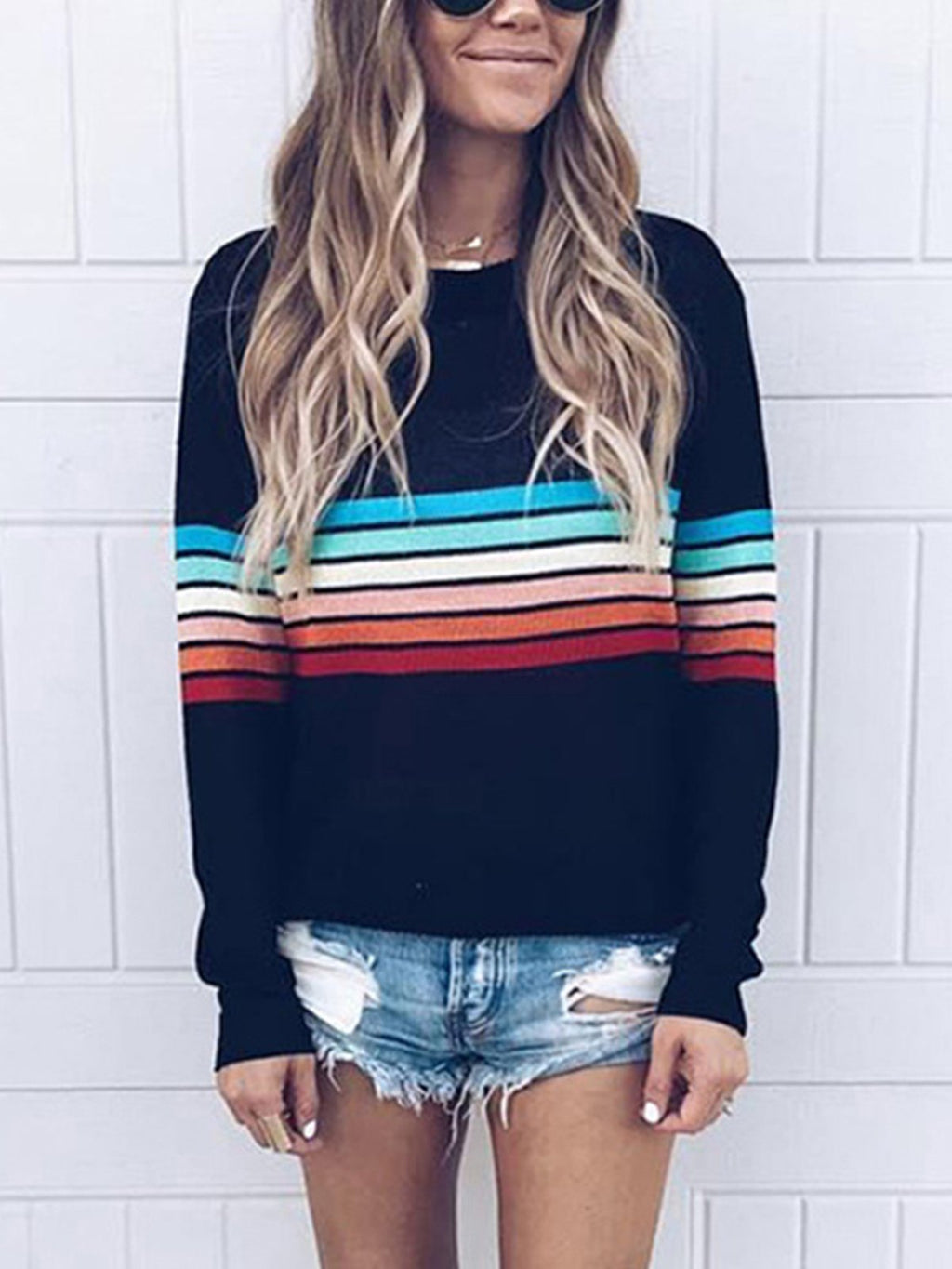 Printed Colorful Striped Plus Size Sweater