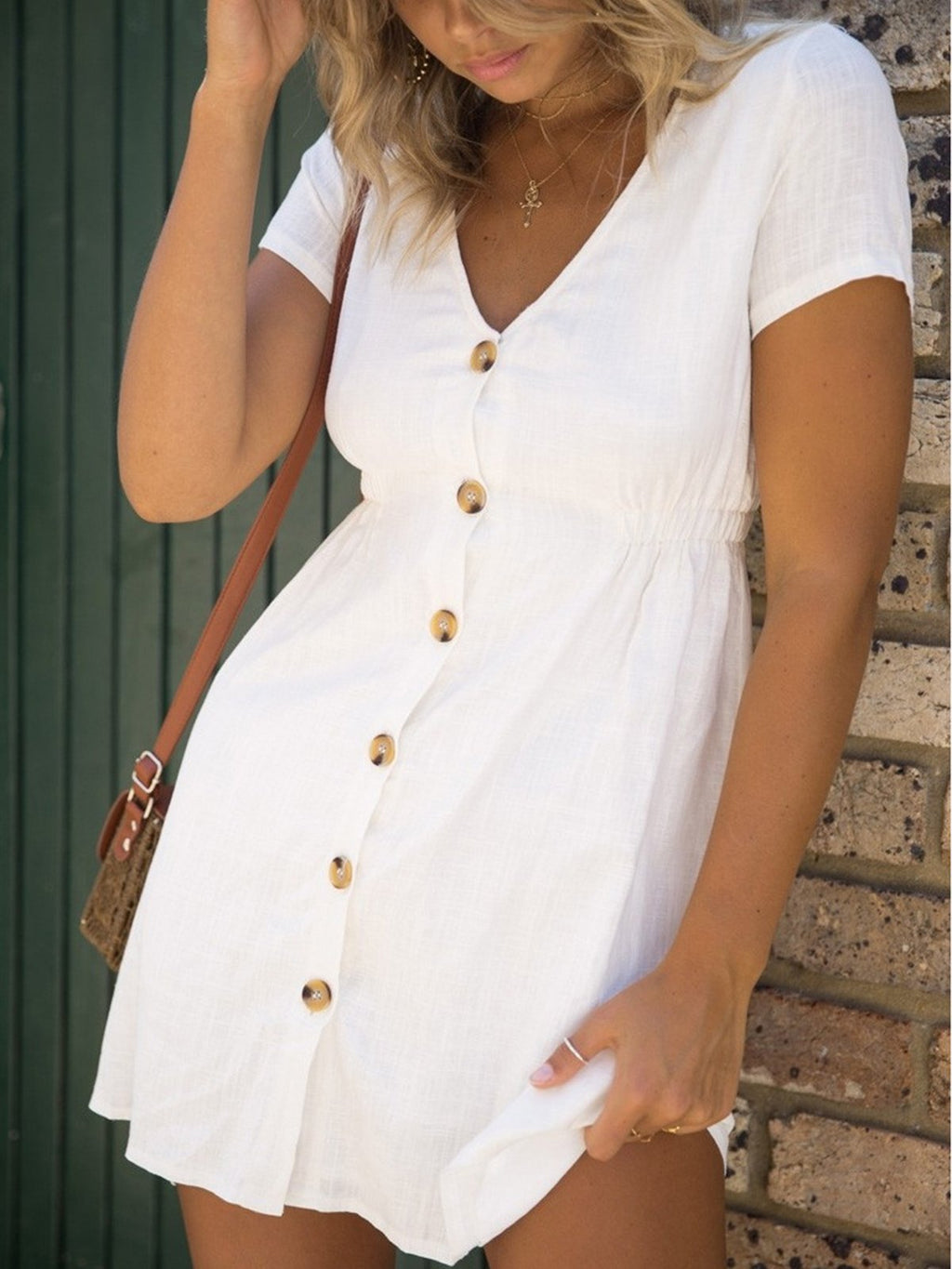 Solid V Neck Short Sleeve Buttons Mini Dress
