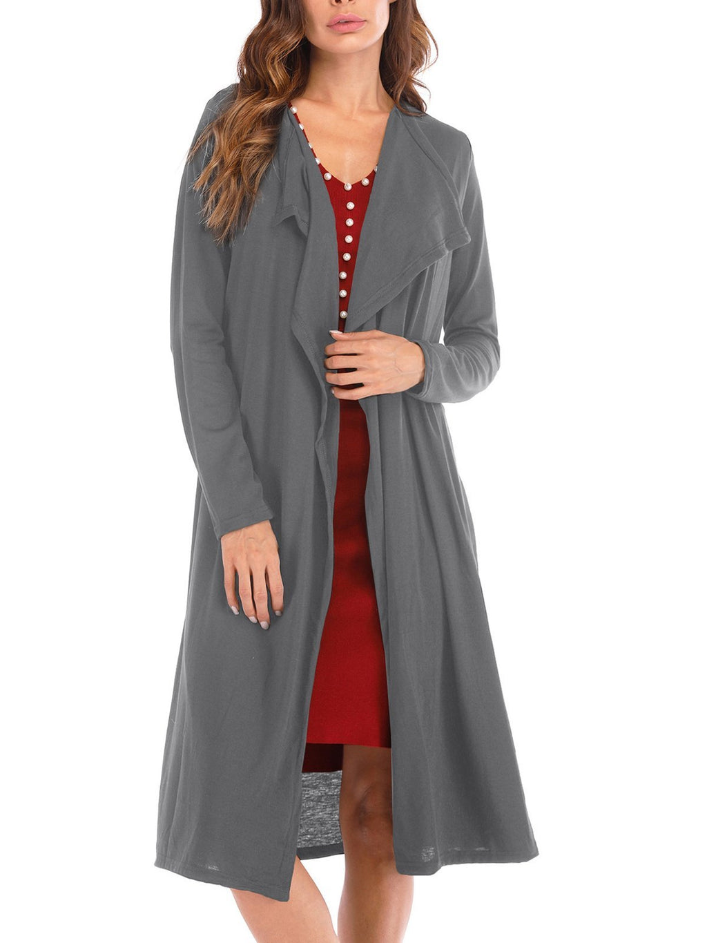 Casual Long Sleeve  Shift Cotton Cardigan