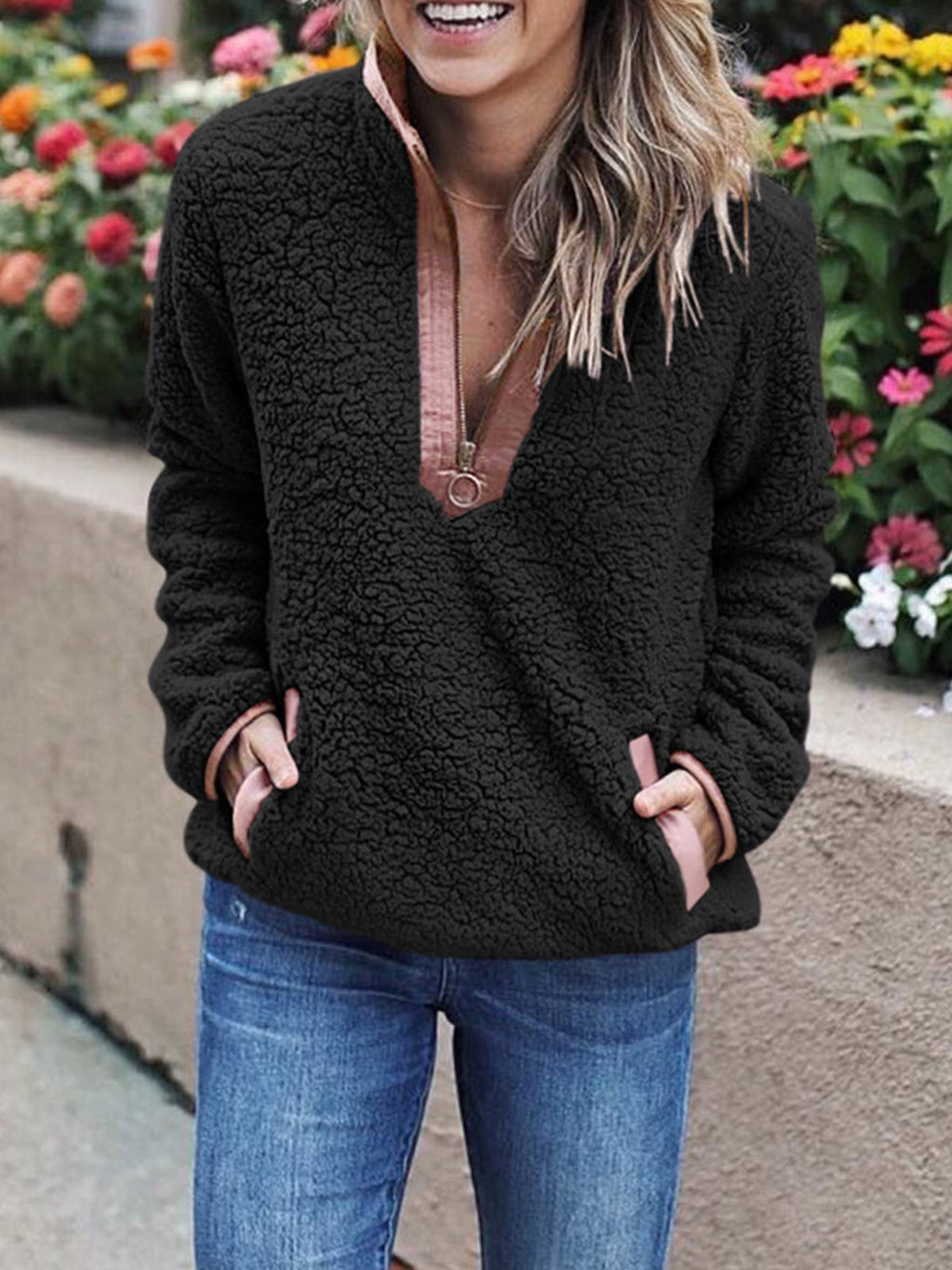 Leisure Warm Plush  Loose Zipper Collar Pockets Sweater