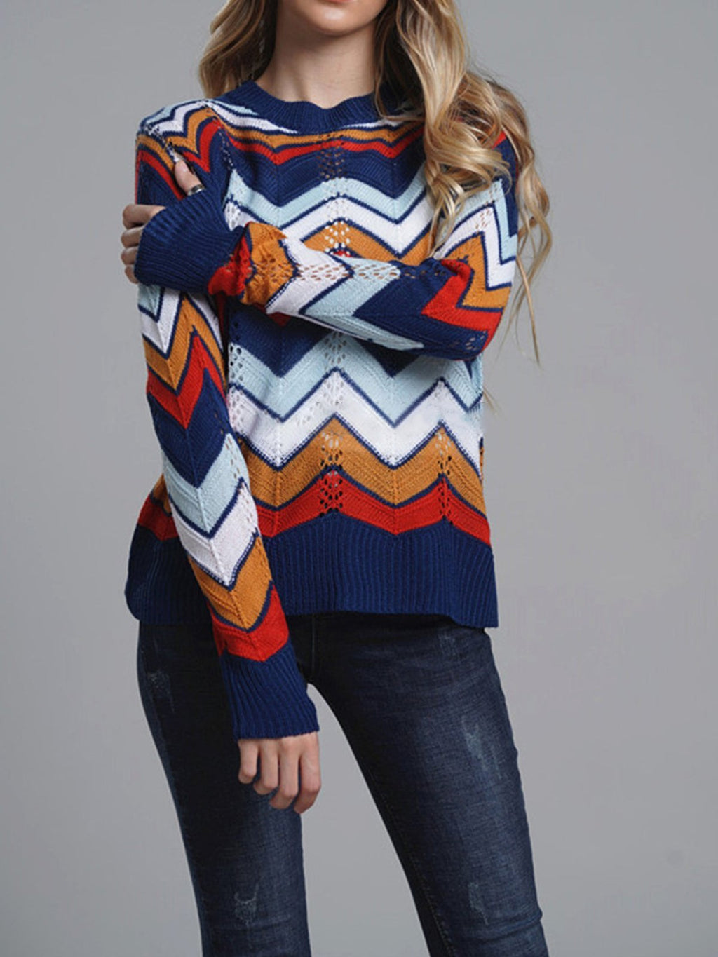 Rainbow Wave Striped Round Pullover Sweater