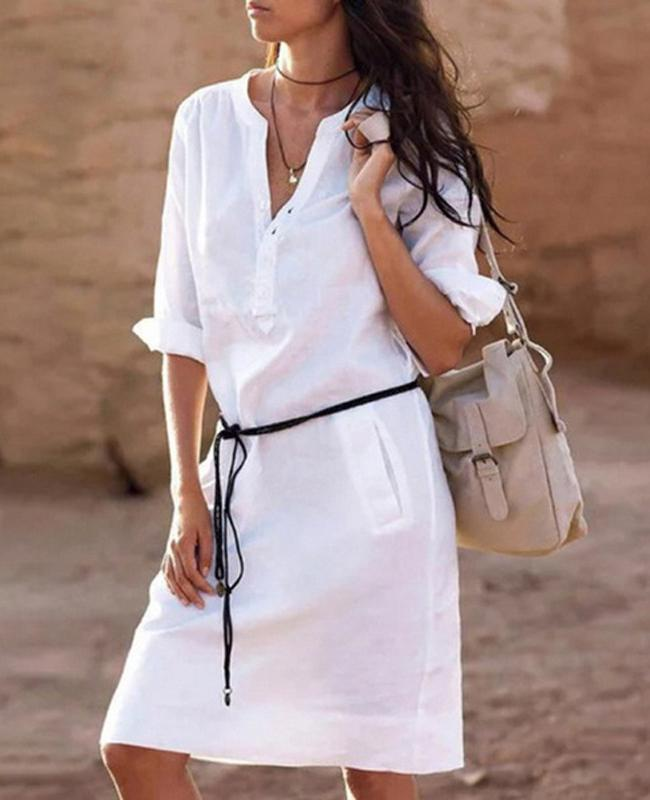 White Linen Basic V Neck Casual Dress