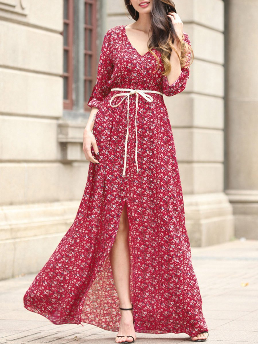 V neck Women Beach Resort Slit Floral Maxi Dress