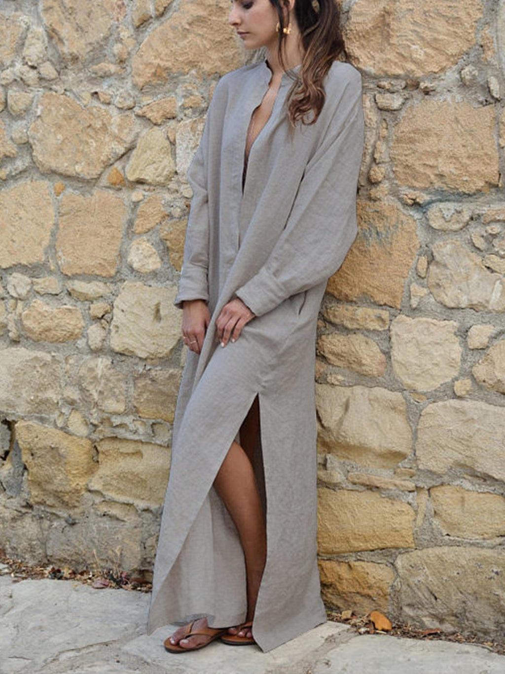 V-neck Loose Long Sleeve Side Slit Dress