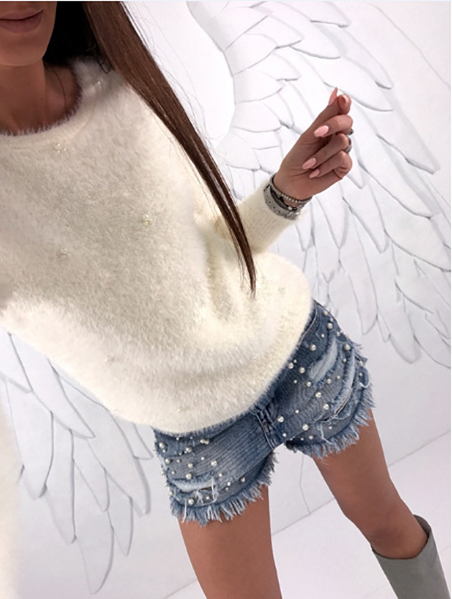 New Stylish Solid Color Long Sleeve Knitted  Cute Sweater