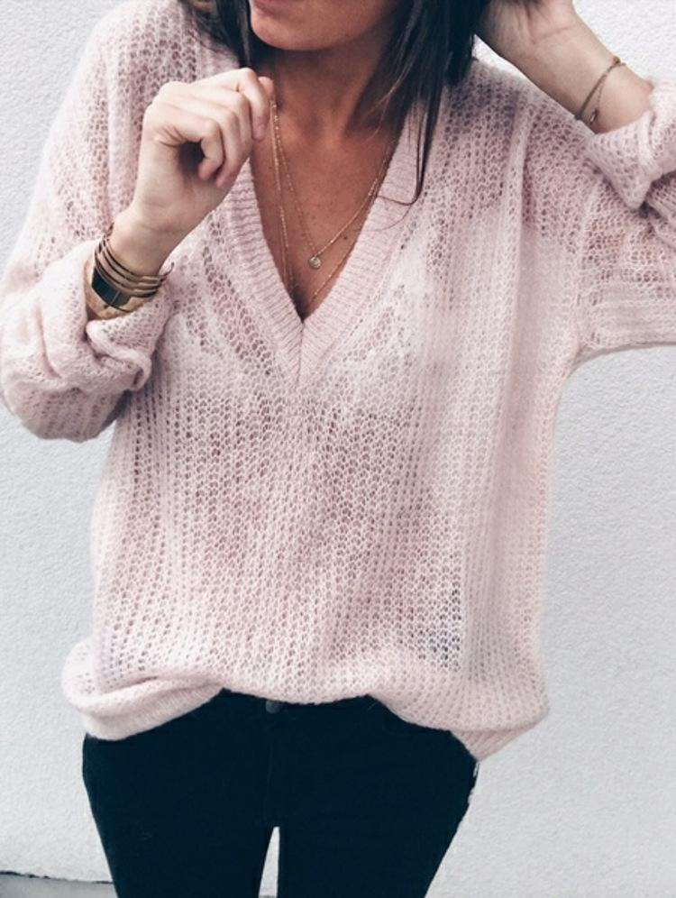 New Women Casual V-neck Long Sleeve Knitted  Plus Size Sweater