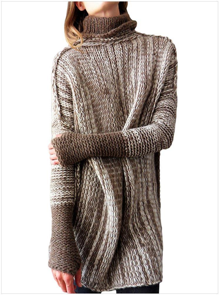 Knitted High Collar Long Sleeve Loose Irregular Texture Sweater