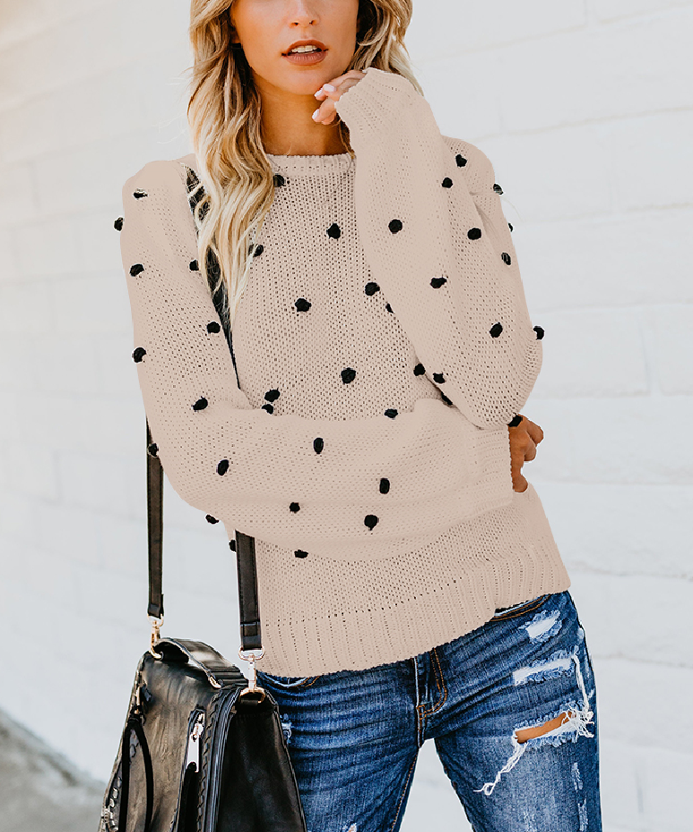 Long Sleeved Pure Color Round Neck Sweater