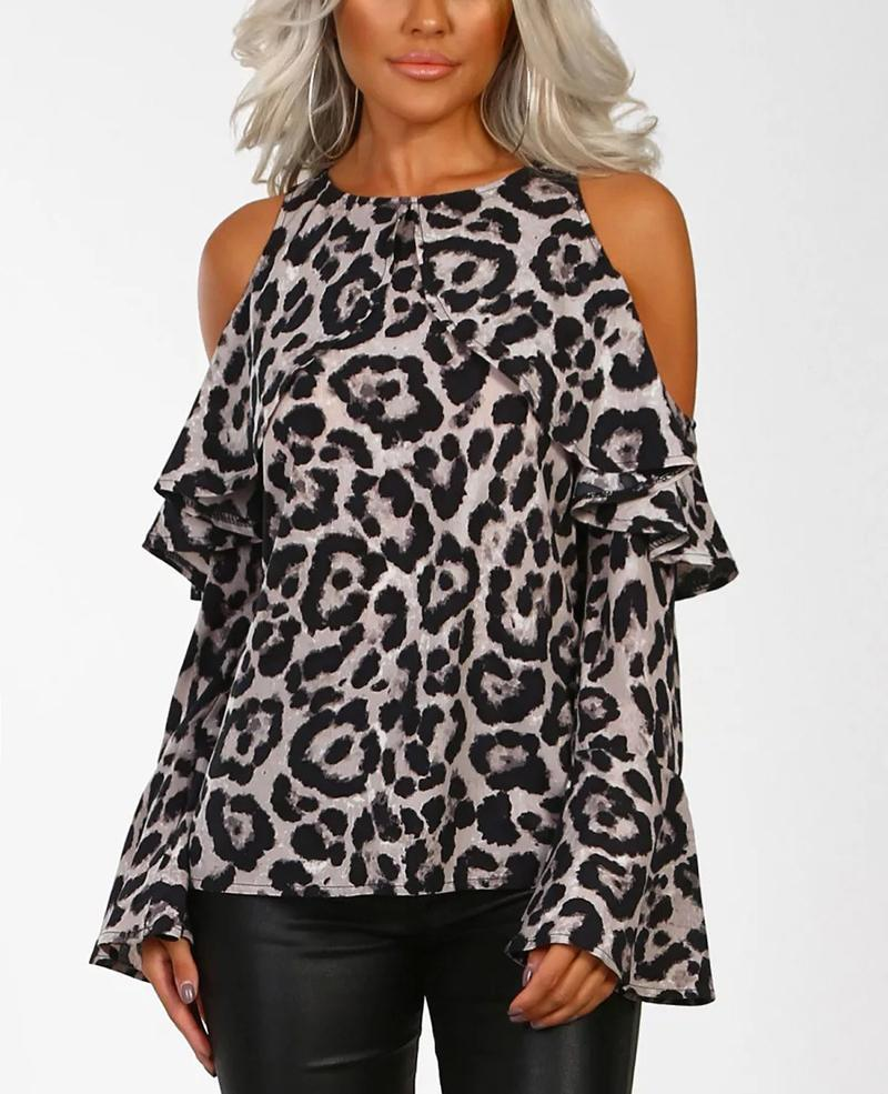 Sexy Leopard Skin Print Cold Shoulder Blouse