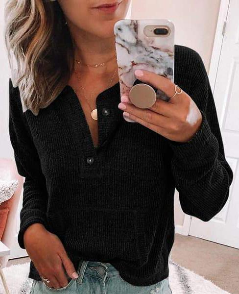 Solid V-Neck Long Sleeve T-Shirts