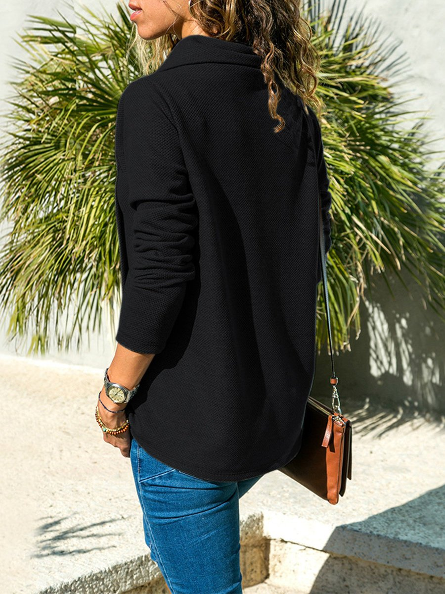 Solid Asymmetric Long Sleeve Plus Size Shirt