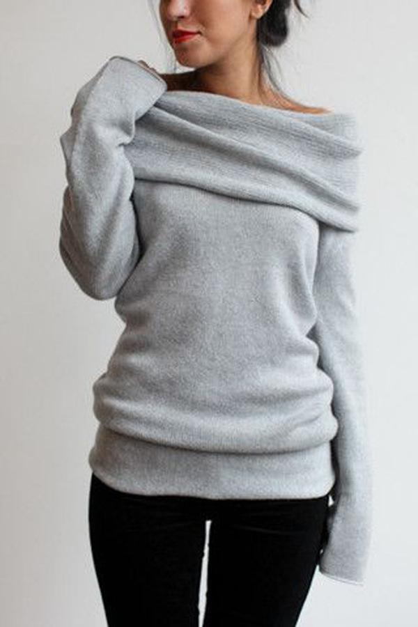 Piled Collar Solid Color Bottoming Sweater