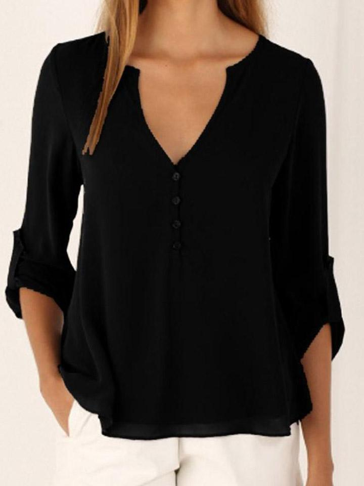 V-neck Large Size Chiffon Blouse