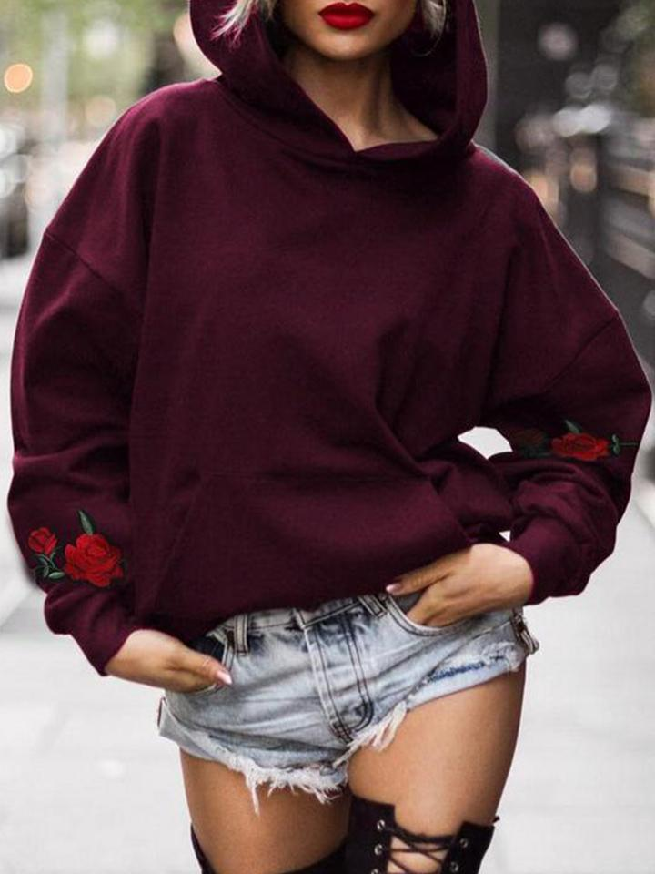 Casual Floral-embroidered Plus Size Hoodie - CandyShe