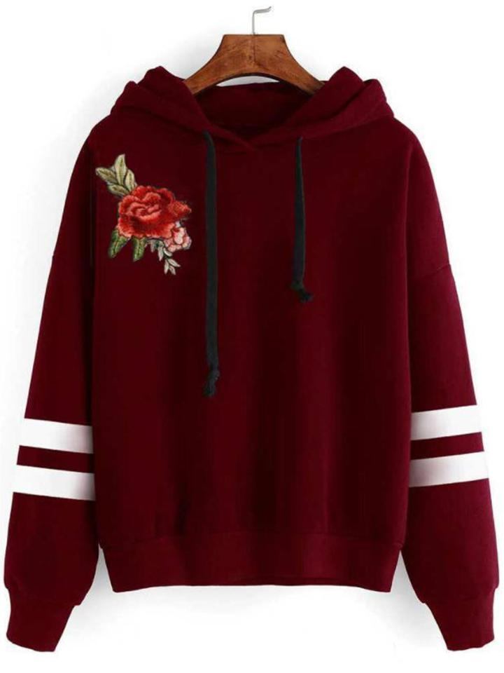 Hoodie Embroidery Shoulder Sweatshirt - CandyShe