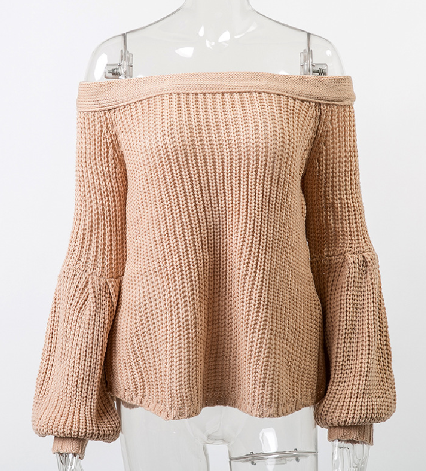 Off-the-shoulder Loose Lantern Sleeve Sweater Pullover