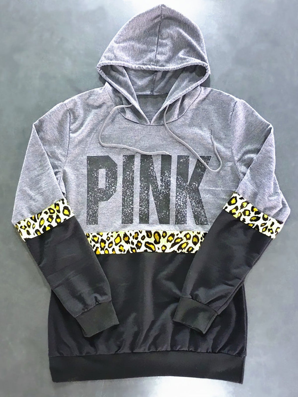 Fashion PINK Letter Print Hooded Leopard Sweatshirt - CandyShe