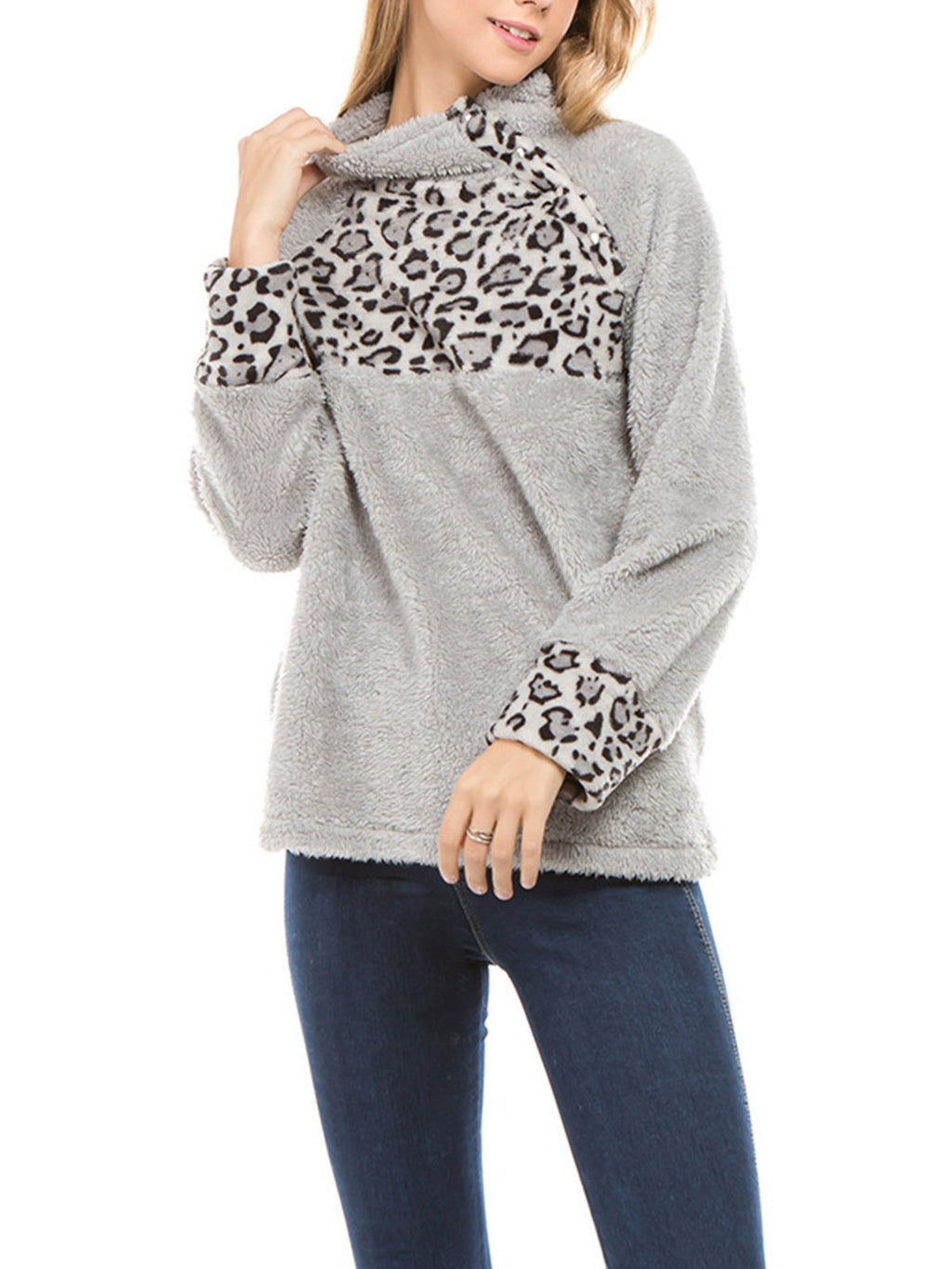 Paneled Leopard Print Chest/Cuff Loose Velour Swaetshirt