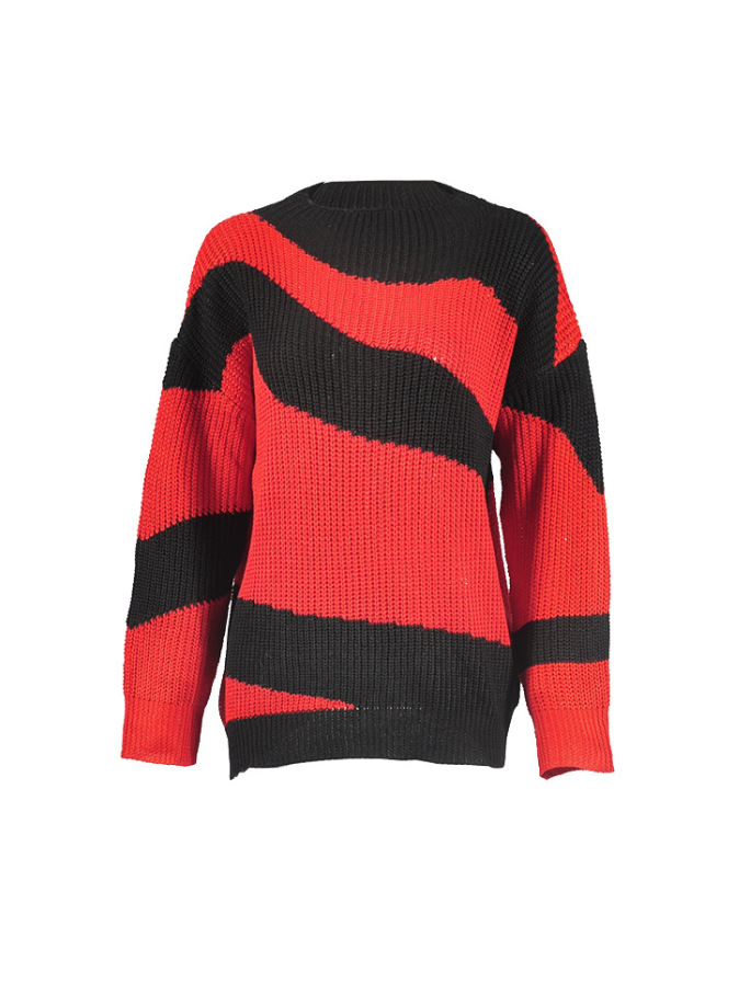 Long Sleeve Diagonal Stripes Color Matching Loose Sweater