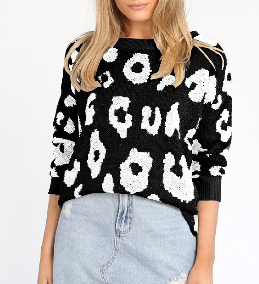 Long Sleeve Leopard Print Loose Hem Sweater