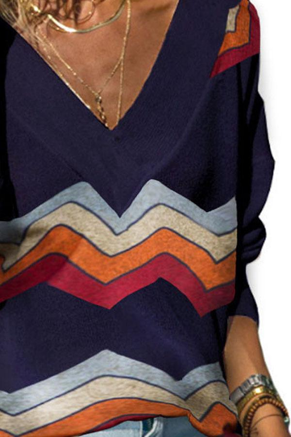 A/W Long Sleeve Rainbow Wave Striped Print V Neck Knit Blouse