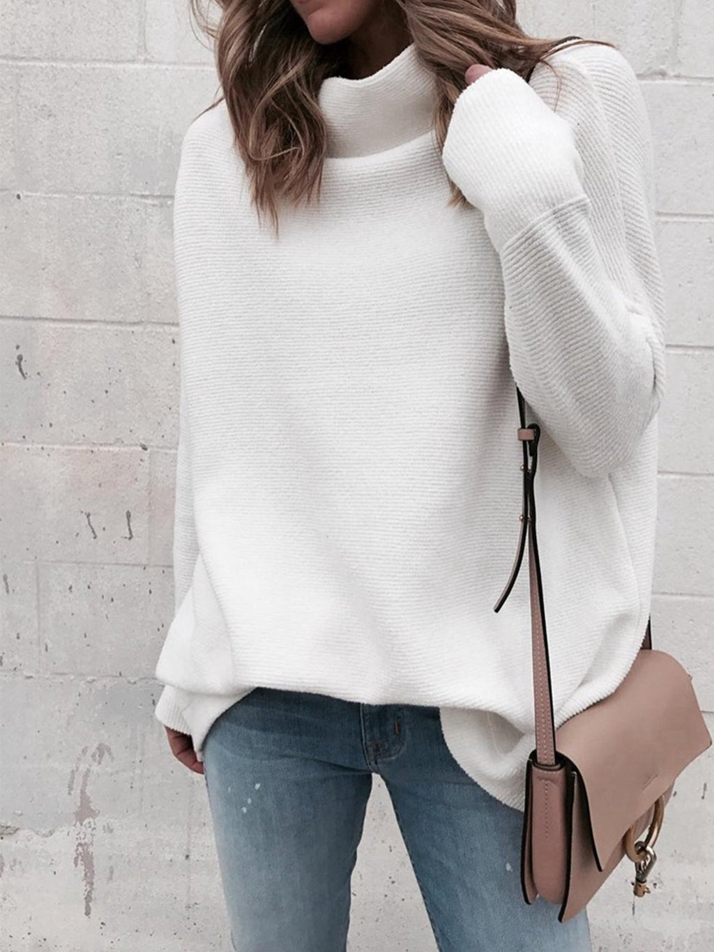 Pure Turtle Neck Long Sleeve Warm Knitwear Women Blouse