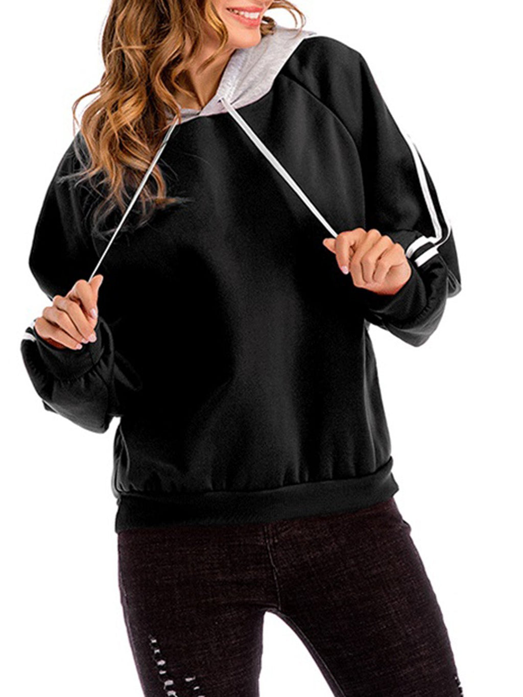 Contrast Striped Sleeve Plus Size Hoodie Sweatshirt - CandyShe