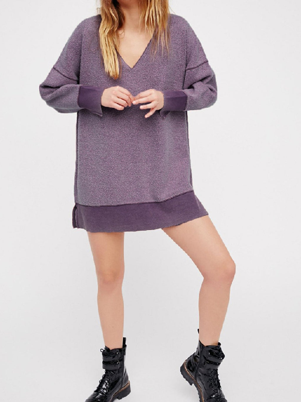 V Neck Raglan Sleeve Velour Over Size Sweatshirt