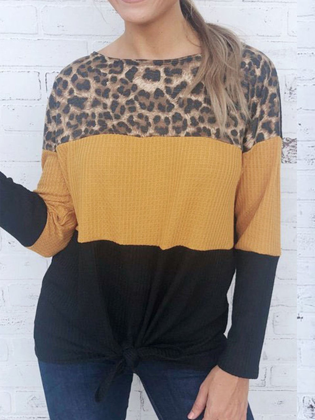 Leopard Print Shoulder Color Block Paneled Loose Casual Warm Knitwear