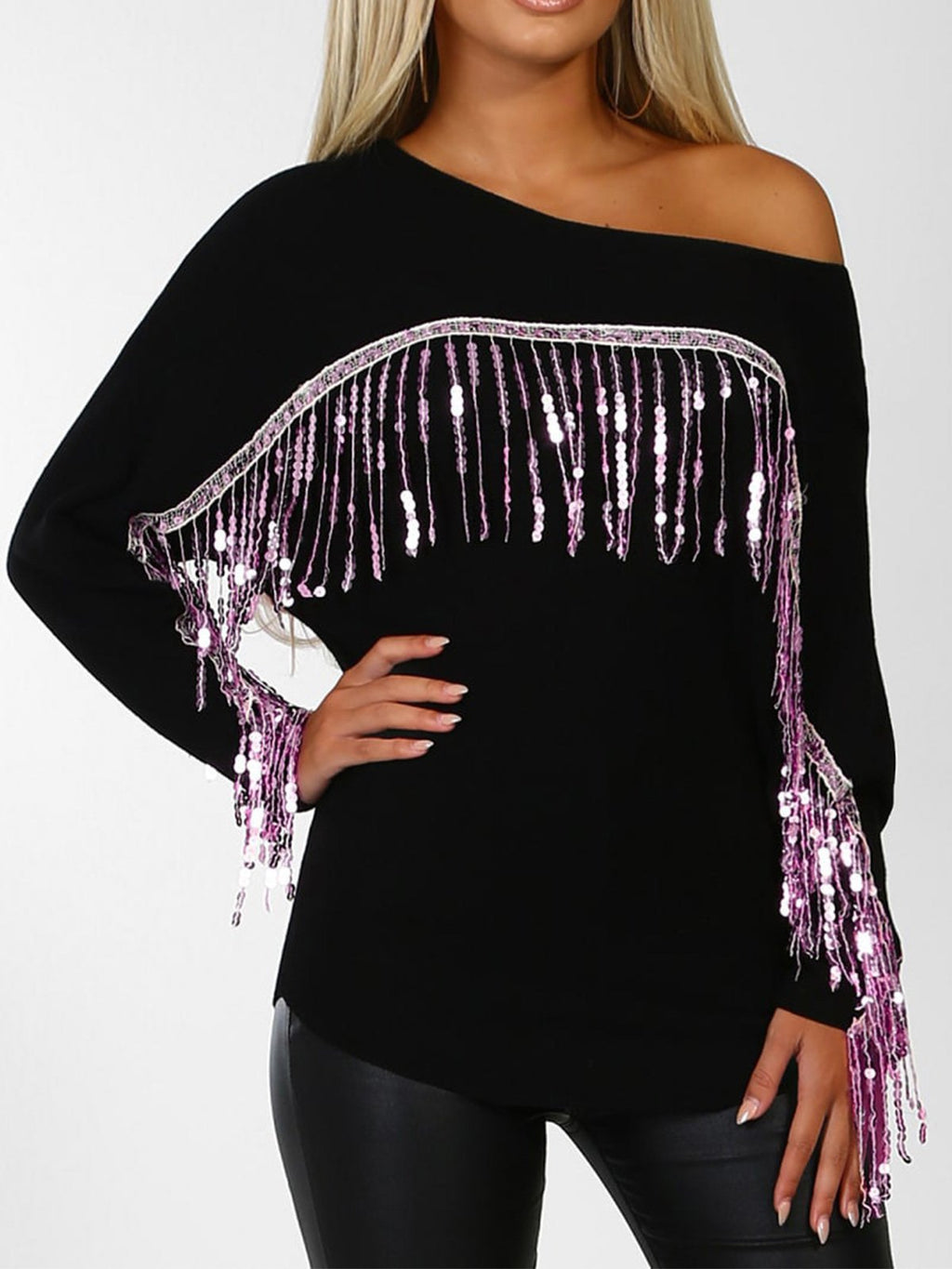 Modern Shiny Sequin Loose Wide Casual Shirt