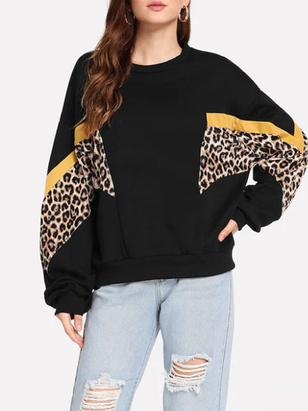Leopard Patchwork Color Block Sweatshirt