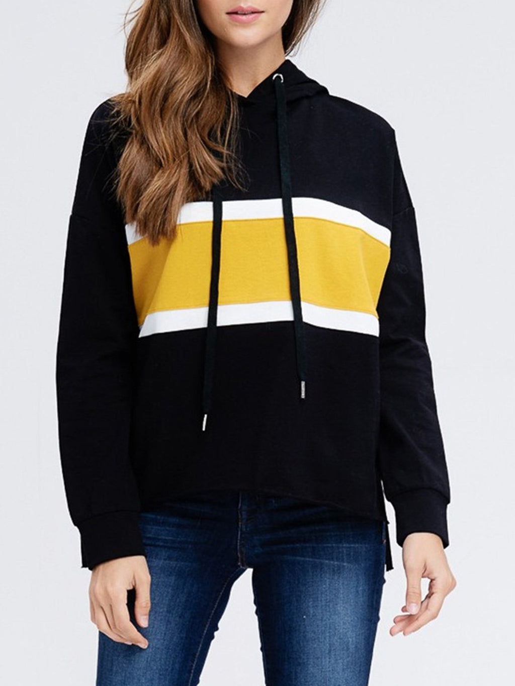 Contrast Hoodie With Drawstring Loose Sweatshirt - CandyShe