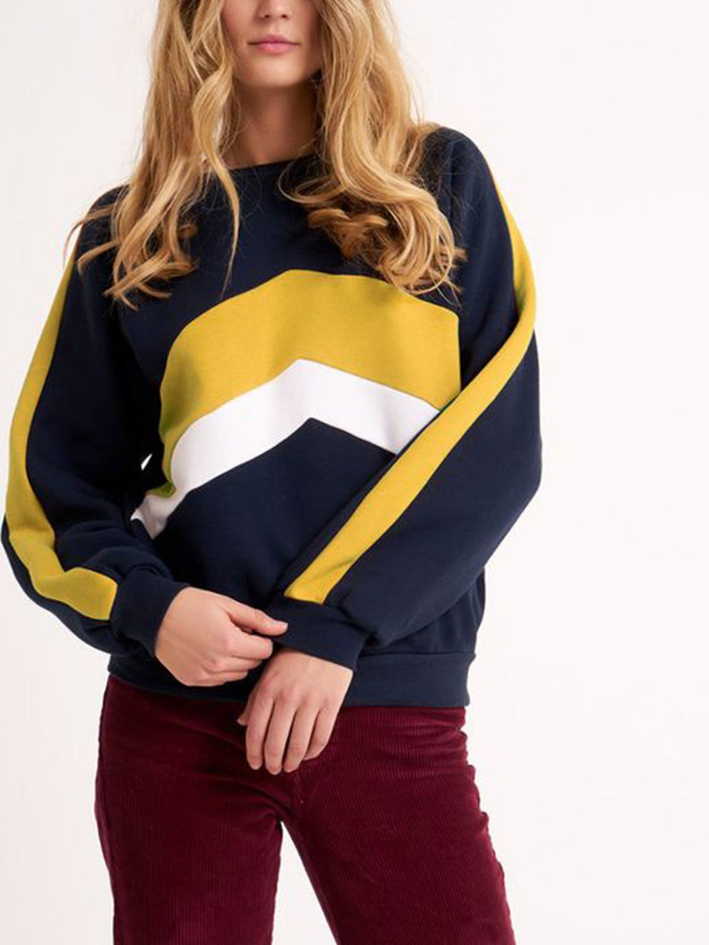 Color Block Paneled Round Neck Loose Sweatshirt - CandyShe