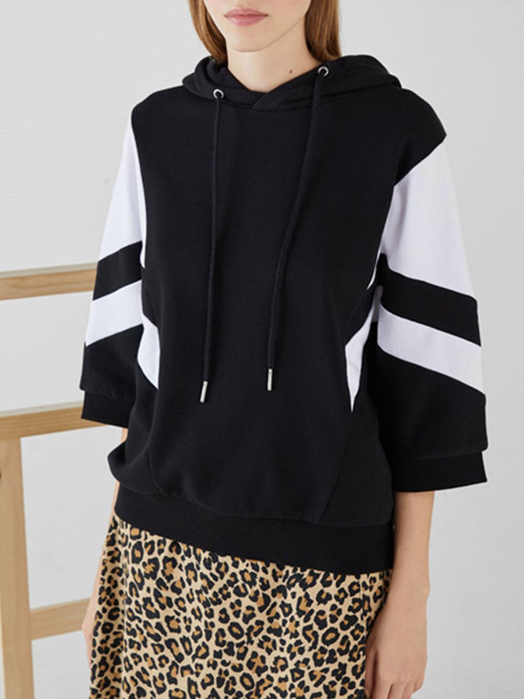 Paneled Hooded 3/4 Sleeve Loose Sweatshirt