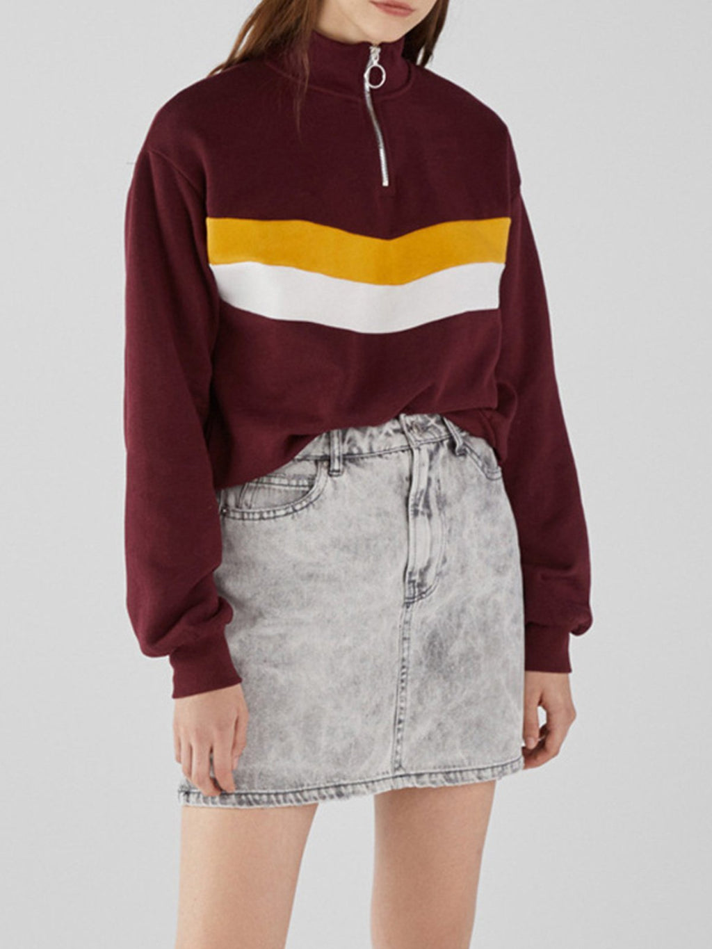 Color Block Paneled Loose Zip Placket Sweatshirt - CandyShe